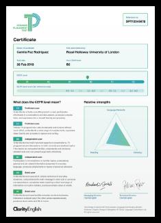 Test taker certificate